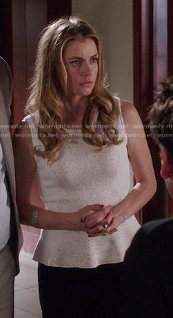 Taylor's white lace peplum top on Devious Maids