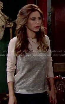 Victoria's blush and grey lace top on The Young and the Restless