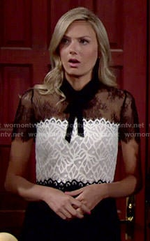Abby's black and white lace dress on The Young and the Restless