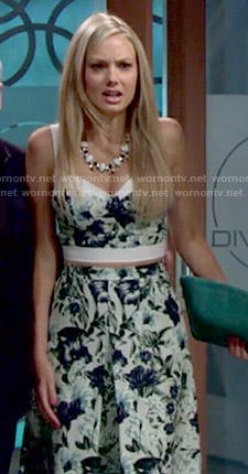 Abby's floral crop top and midi skirt on The Young and the Restless