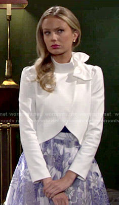 Abby's white bow jacket on The Young and the Restless