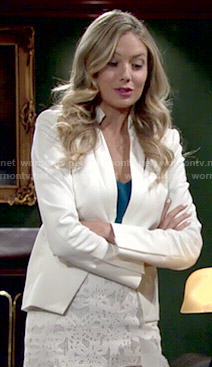 Abby's white cutout blazer and lace skirt on The Young and the Restless