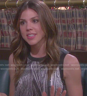 Abigail's black and white abstract print top on Days of our Lives
