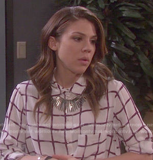 Abigail's windowpane print shirt on Days of our Lives