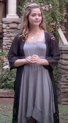 Ali's grey lace trim dress with asymmetric hem on Pretty Little Liars