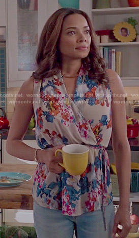 April's floral wrap top on Mistresses
