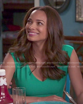 April's green v-neck dress on Mistresses