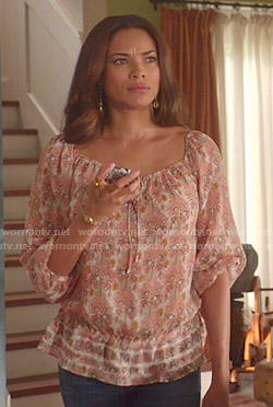 April's printed peasant blouse on Mistresses