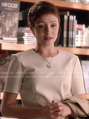 April's white leather dress on Chasing Life