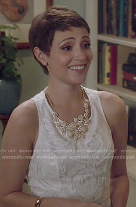 April's white rose textured dress on Chasing Life