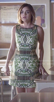 Aria's green printed dress on Pretty Little Liars