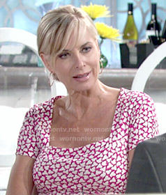 Ashley's pink printed short sleeve dress on The Young and the Restless