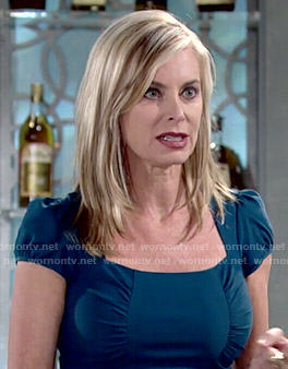 Ashley's teal dress with ruched sides on The Young and the Restless