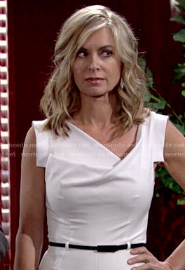 Ashley's white cowl neck jumpsuit on The Young and the Restless