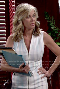 Ashley's white zip front dress on The Young and the Restless