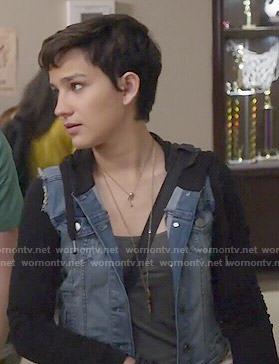 Audrey's denim jacket with black sleeves on Scream