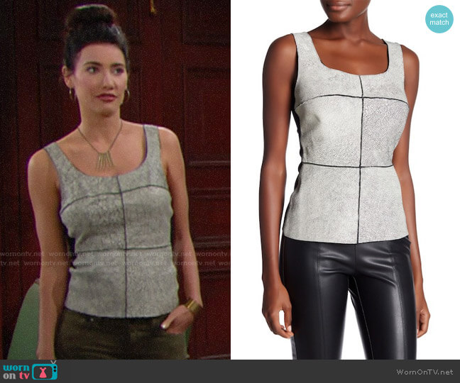 Bailey 44 Giallo Printed Leather Tank Top worn by Steffy Forrester (Jacqueline MacInnes Wood) on The Bold & the Beautiful
