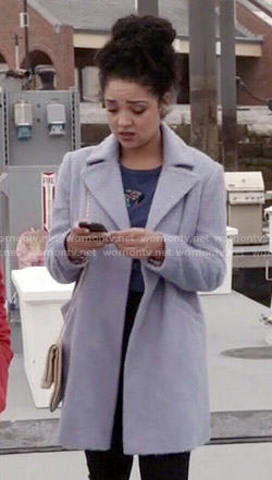 Beth's blue mohair coat on Chasing Life