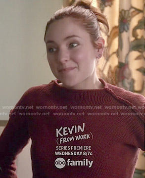 Brenna's red sweater on Chasing Life