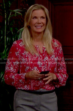 Brooke's red floral blouse on The Bold and the Beautiful