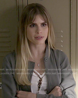 Brooke's white top with metal rings on Scream