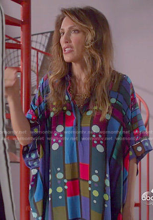 Calista's blue geometric printed kaftan on Mistresses