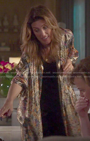Calista's metallic floral kimono on Mistresses