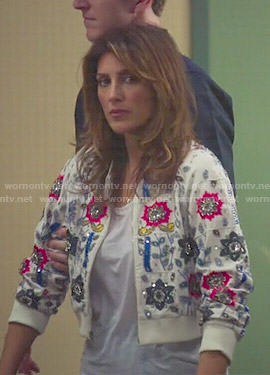 Calista's floral embellished cropped jacket on Mistresses