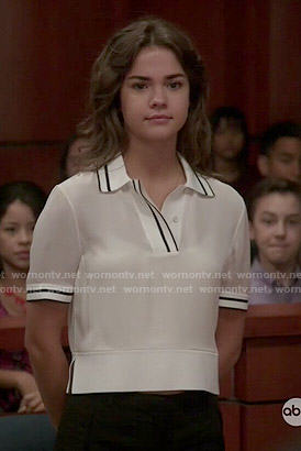 Callie's white polo top on The Fosters