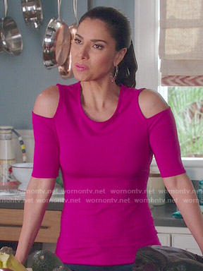 Carmen's pink cold shoulder top on Devious Maids
