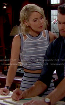 Caroline's blue striped crop top and skirt on The Bold and the Beautiful