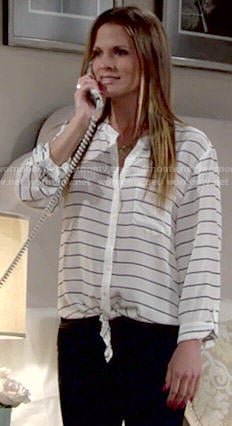 Chelsea's striped tie front blouse on The Young and the Restless