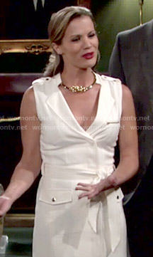 Chelsea's white sleeveless belted dress on The Young and the Restless