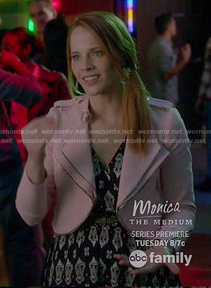 Daphne's pink jacket and printed dress on Switched at Birth