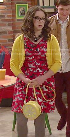 Delia's red dog print dress and lemon bag on I Didn't Do It