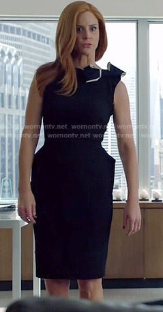 Donna's black shoulder bow dress on Suits