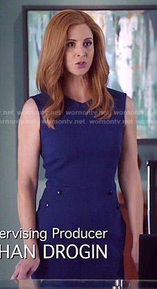 Donna's blue dress with side buttons on Suits