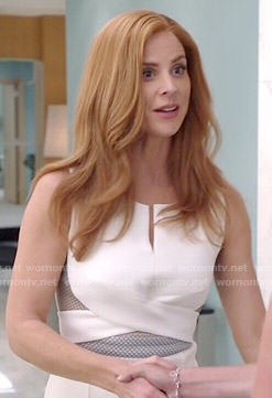Donna's white cutout dress with cross front on Suits