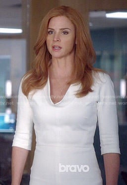 Donna's white rolled neck dress on Suits
