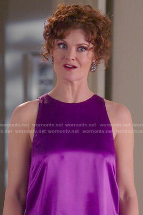 Evelyn's purple satin top on Devious Maids