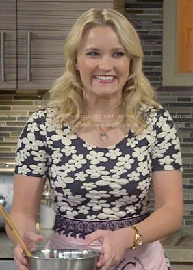 Gabi's black and white floral short sleeved dress on Young and Hungry