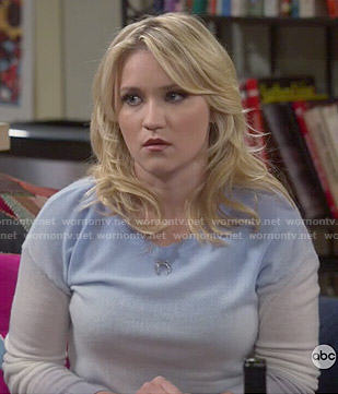 Gabi's blue and grey ombre sweater on Young and Hungry