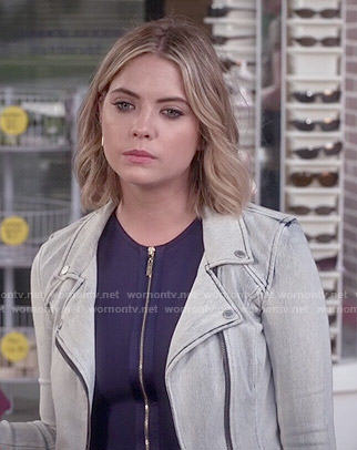 Hanna's navy zip front dress on Pretty Little Liars