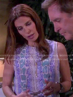 Hope's blue and green snake print top on Days of our Lives