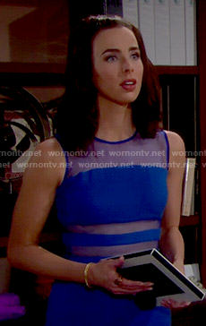 Ivy's blue mesh panel dress on The Bold and the Beautiful