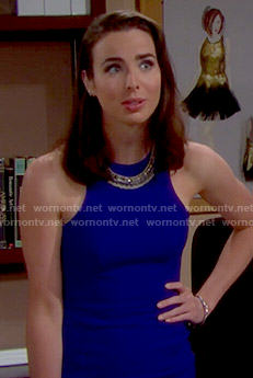 Ivy's blue mini dress on The Bold and the Beautiful