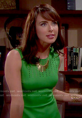 Ivy's green perforated dress on The Bold and the Beautiful