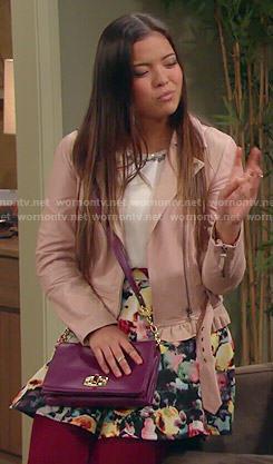 Jasmine's pink ruffled leather jacket on I Didn't Do It