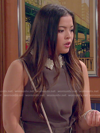 Jasmine's brown belted playsuit with pearl collar necklace on I Didn't Do It