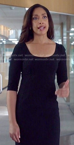 Jessica's black scoop neck dress on Suits